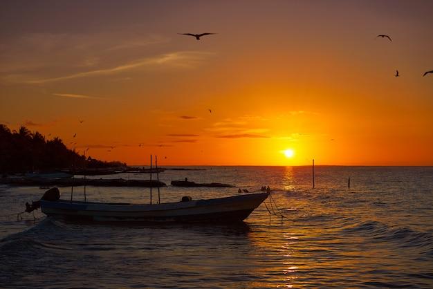 Amanhecer, yucatan, mexicano, americano, touristic, horizonte