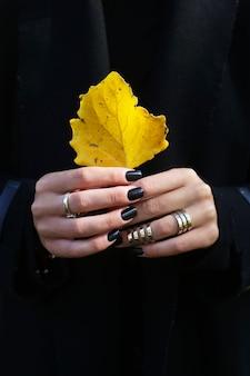 Amarela, outono, folha, em, mãos femininas, com, pretas, manicure