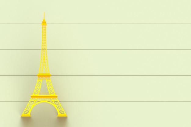 Amarela, torre eiffel, ligado, amarela, tábua madeira