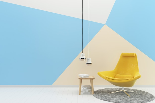 Amarelo cadeira azul parede pastel branco piso de madeira textura tapete livro lâmpada