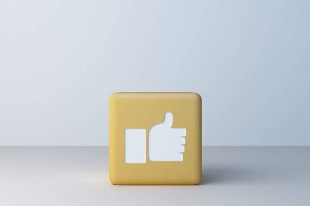 Amarelo como ícone 3d caixa renderização em 3d
