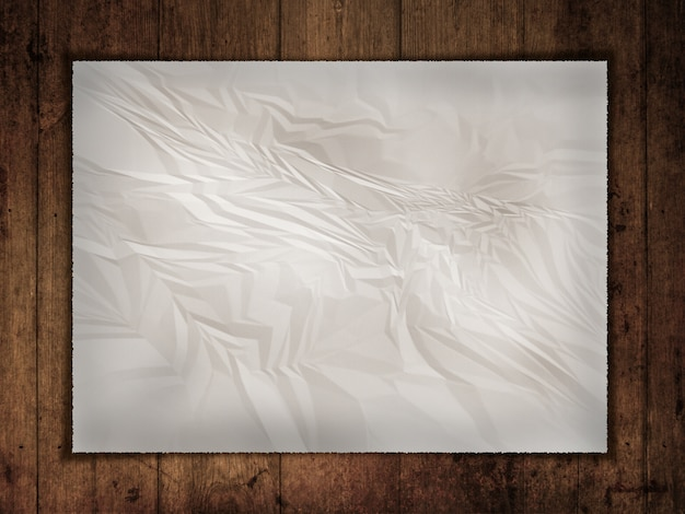 Amarrotado papel velho em um backgroun de madeira do grunge