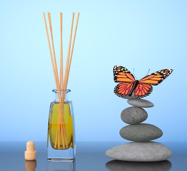Ambientador de aromaterapia e pedras equilibradas com borboleta em um fundo azul. renderização 3d