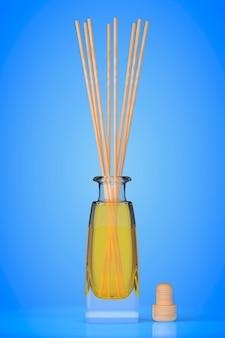 Ambientador de aromaterapia em um fundo azul. renderização 3d