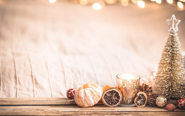 Ambiente acolhedor de natal festivo com decoração de casa