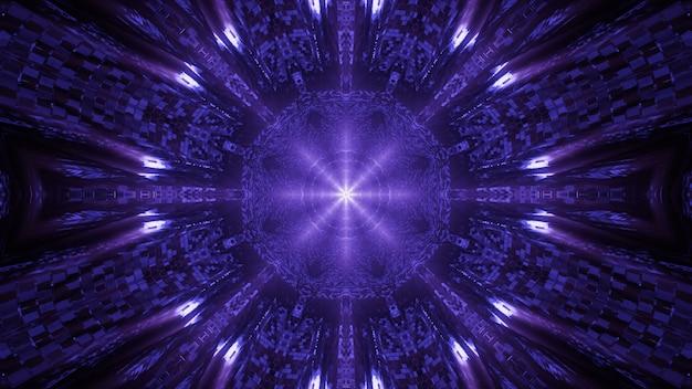 Ambiente cósmico com luzes de laser neon roxas