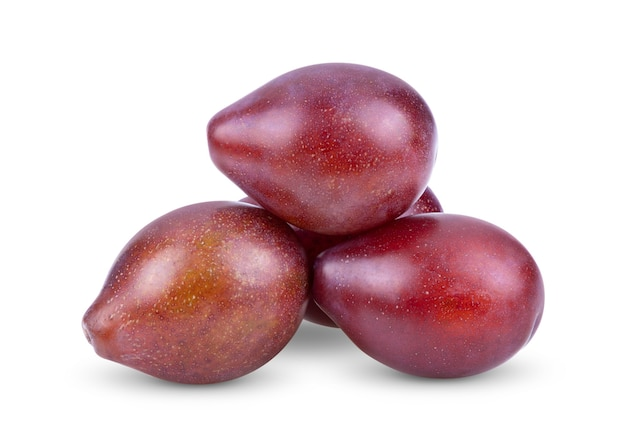 Ameixa ameixa ameixa fruta isolada em um fundo branco
