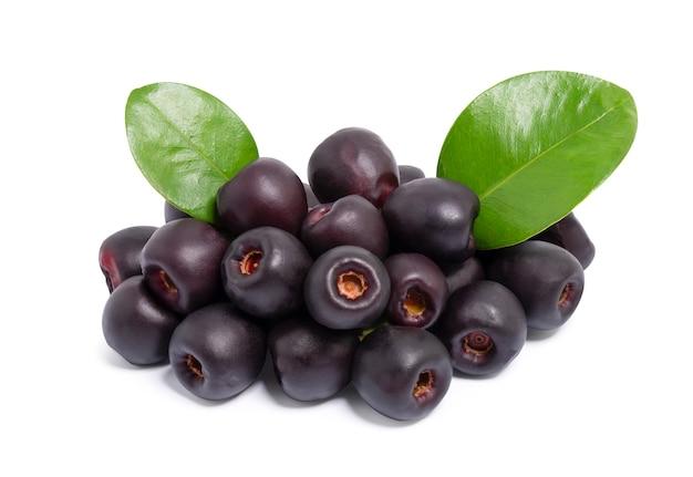 Ameixa jambolan ou jambul ou fruta jamun, ameixa java (syzygium cumini) isolada