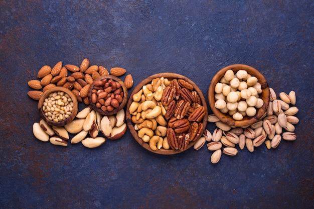 Amêndoas, noz-pecã, macadâmia, pistache e caju
