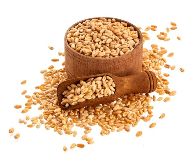 Amendoim cru heap com colher de madeira e balde cheio