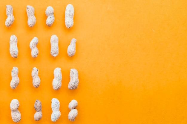 Amendoins inteiros dispostos em uma fileira em um fundo laranja
