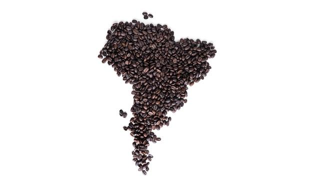 América do sul continental feita de grãos de café isolados.
