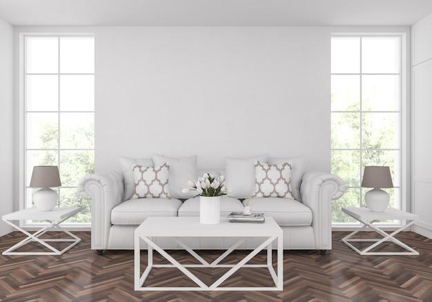 Americana sala de estar com parede em branco vazia, exibição de obras de arte