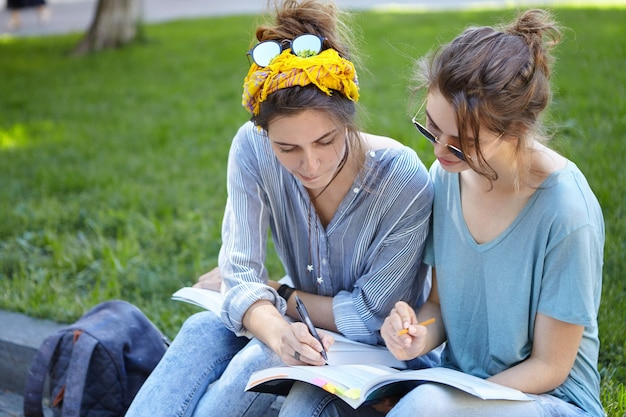 Amigas estudando juntas no parque