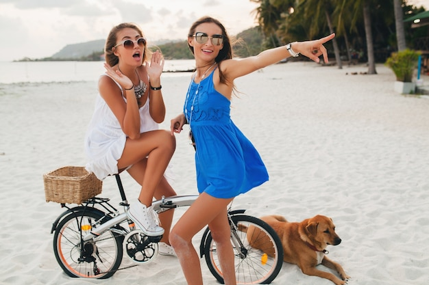 Amigas felizes se divertindo em uma praia tropical