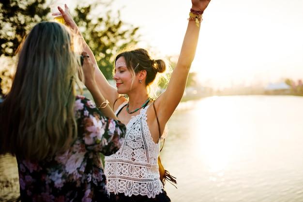 Amigas, levando, foto, música, festival