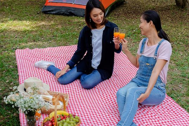 Amigos asiáticos novos felizes que têm o divertimento ao comer e ao beber em um piquenique.