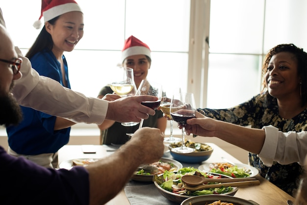 Amigos, celebrando, feriado, junto