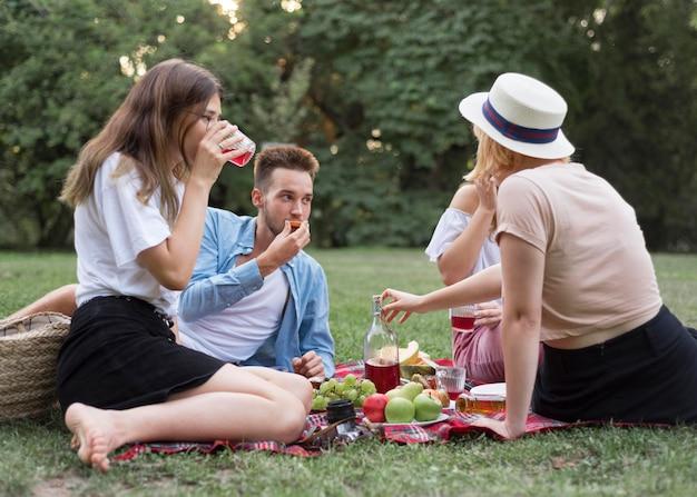 Amigos completos sentados em um pano do lado de fora