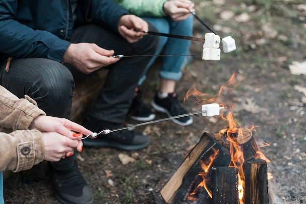 Amigos cozinhar marshmallow na fogueira