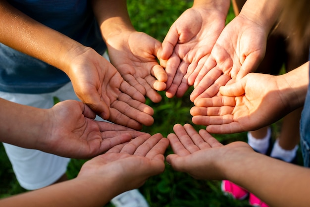 Amigos de alto ângulo, mostrando as mãos para a câmera