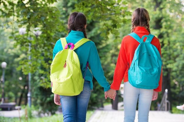 Amigos de mochileiros de meninas velo roupas mochilas fundo de floresta, conceito de mãos dadas.