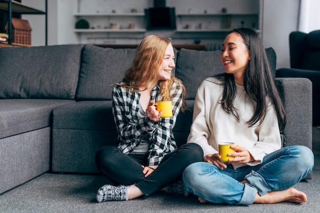 Amigos do sexo feminino bebendo chá juntos