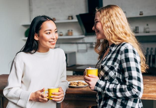 Amigos do sexo feminino com xícaras de chá conversando