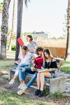 Amigos, estudar, junto, ligado, banco