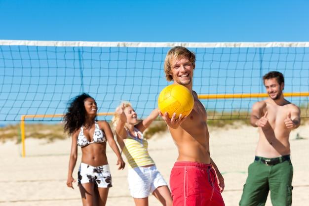 Amigos, jogar, voleibol praia