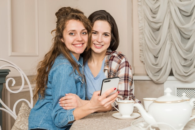Amigos, posar, enquanto, tendo, chá