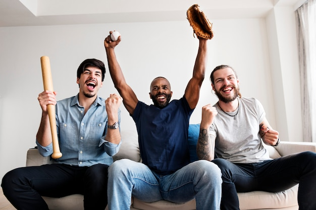 Amigos, torcendo, liga esporte, junto