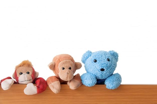 Amizade - a gangue de ursos de pelúcia e macacos estão pegando na madeira