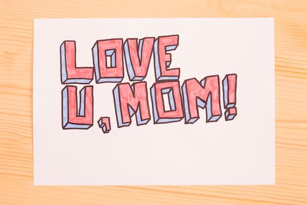 Amo minha mãe escrevendo em papel