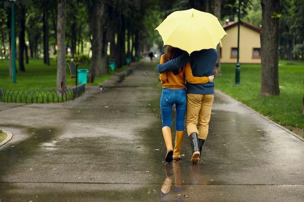 Amo o casal com abraços de guarda-chuva no parque de verão, vista traseira, dia chuvoso. atrasos para homens e mulheres na trilha de caminhada sob chuva e chuva no beco