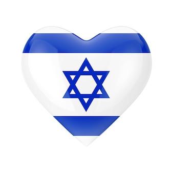 Amo o conceito de israel. bandeira de israel em forma de coração em um fundo branco renderização 3d