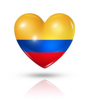 Amo o ícone de bandeira do coração da colômbia