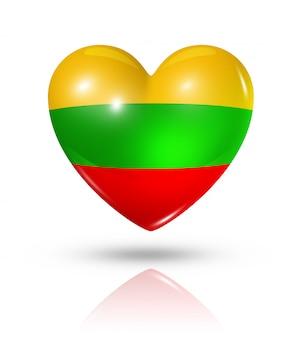 Amo o ícone de bandeira do coração da lituânia