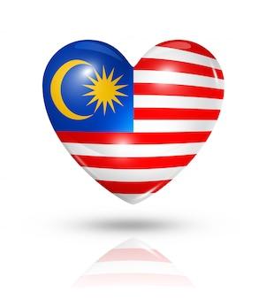 Amo o ícone de bandeira do coração da malásia