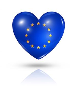 Amo o ícone de bandeira do coração da união europeia