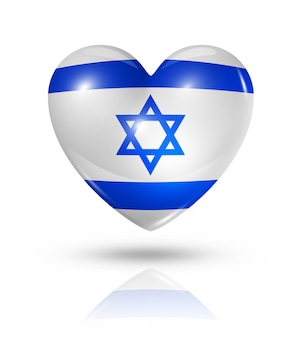 Amo o ícone de bandeira do coração de israel