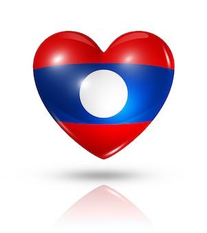 Amo o ícone de bandeira do coração de laos