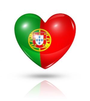 Amo o ícone de bandeira do coração de portugal