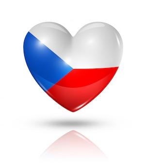 Amo o ícone de bandeira do coração de república checa