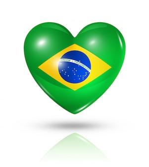 Amo o ícone de bandeira do coração do brasil