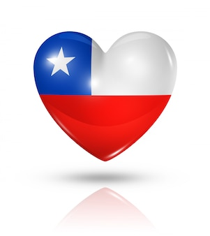 Amo o ícone de bandeira do coração do chile
