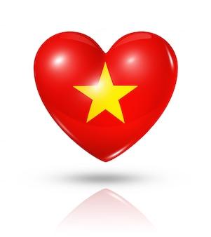 Amo o ícone de bandeira do coração do vietnã