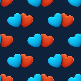 Amo o padrão sem emenda sobre um fundo azul. cartão de dia dos namorados