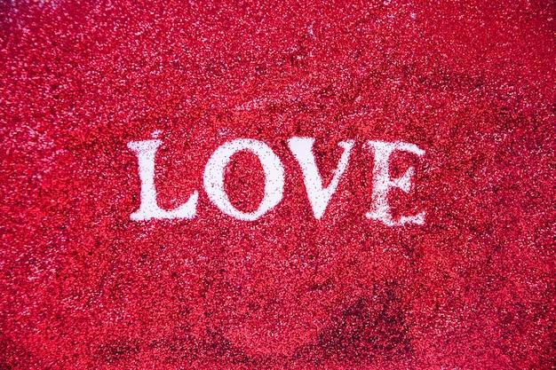 Amor bonito escrevendo em glitter
