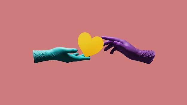Amor e relacionamento durante o conceito de coronavirus. dia dos namorados